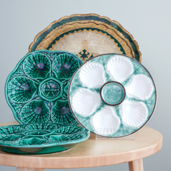 Majolica Faience Oyster Plates